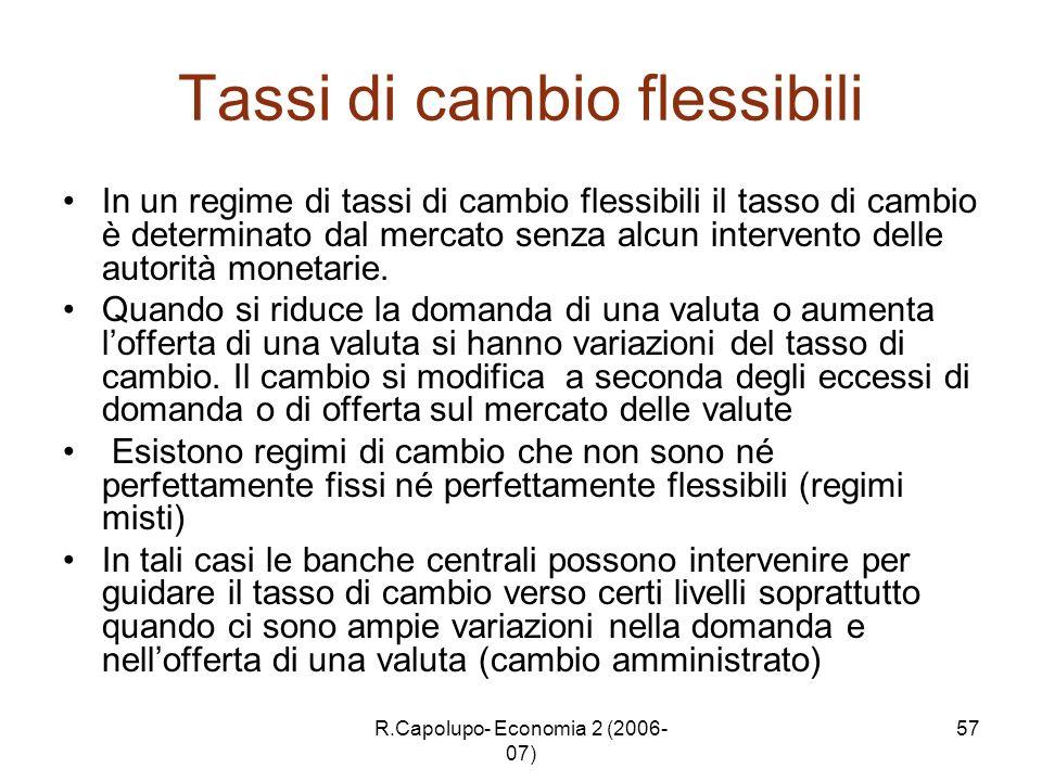 R.Capolupo- Economia 2 (2006- 07) 57 Tassi di cambio flessibili In un regime di tassi di cambio flessibili il tasso di cambio è determinato dal mercat