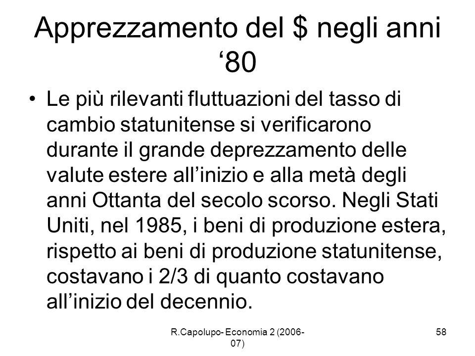 R.Capolupo- Economia 2 (2006- 07) 58 Apprezzamento del $ negli anni 80 Le più rilevanti fluttuazioni del tasso di cambio statunitense si verificarono