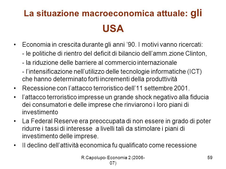 R.Capolupo- Economia 2 (2006- 07) 59 La situazione macroeconomica attuale: gli USA Economia in crescita durante gli anni 90. I motivi vanno ricercati: