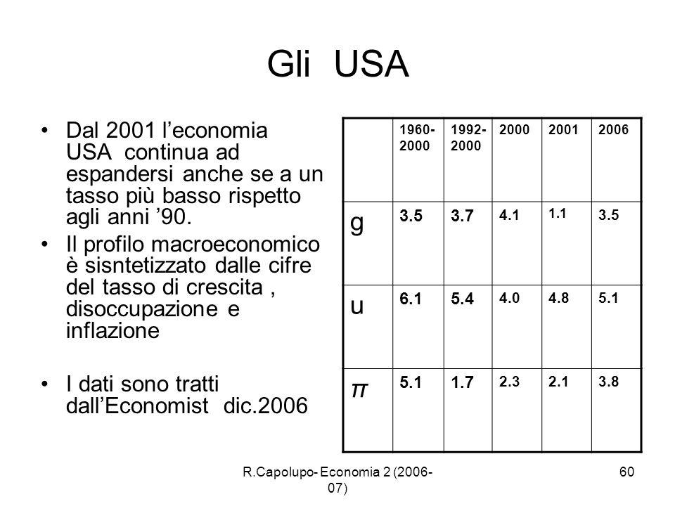 R.Capolupo- Economia 2 (2006- 07) 60 Gli USA Dal 2001 leconomia USA continua ad espandersi anche se a un tasso più basso rispetto agli anni 90. Il pro