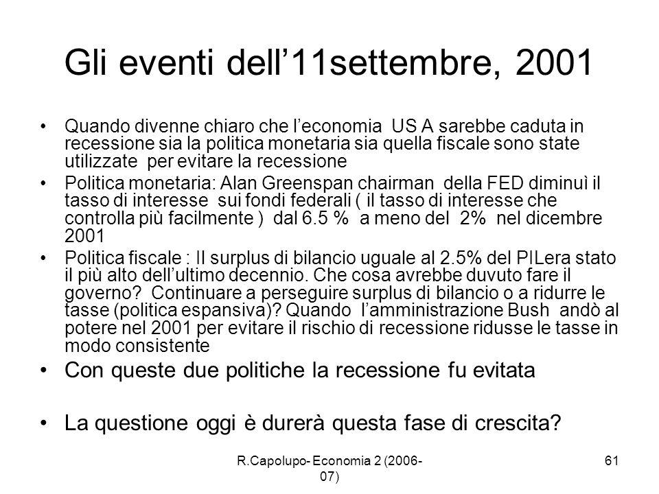 R.Capolupo- Economia 2 (2006- 07) 61 Gli eventi dell11settembre, 2001 Quando divenne chiaro che leconomia US A sarebbe caduta in recessione sia la pol