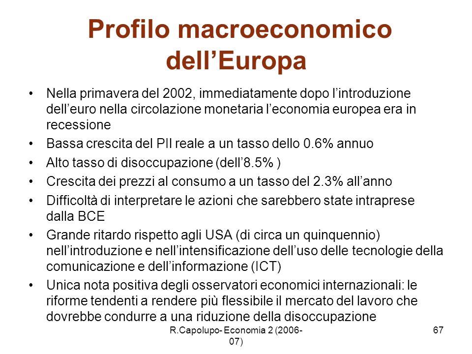 R.Capolupo- Economia 2 (2006- 07) 67 Profilo macroeconomico dellEuropa Nella primavera del 2002, immediatamente dopo lintroduzione delleuro nella circ