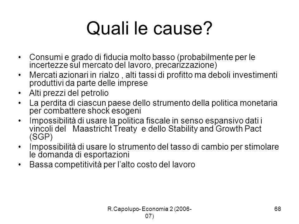 R.Capolupo- Economia 2 (2006- 07) 68 Quali le cause? Consumi e grado di fiducia molto basso (probabilmente per le incertezze sul mercato del lavoro, p