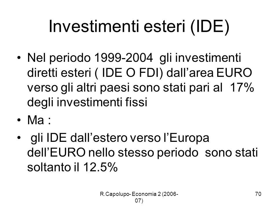 R.Capolupo- Economia 2 (2006- 07) 70 Investimenti esteri (IDE) Nel periodo 1999-2004 gli investimenti diretti esteri ( IDE O FDI) dallarea EURO verso