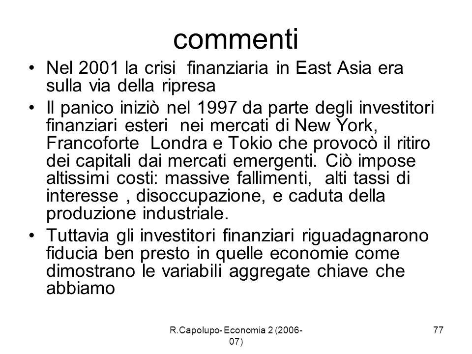 R.Capolupo- Economia 2 (2006- 07) 77 commenti Nel 2001 la crisi finanziaria in East Asia era sulla via della ripresa Il panico iniziò nel 1997 da part