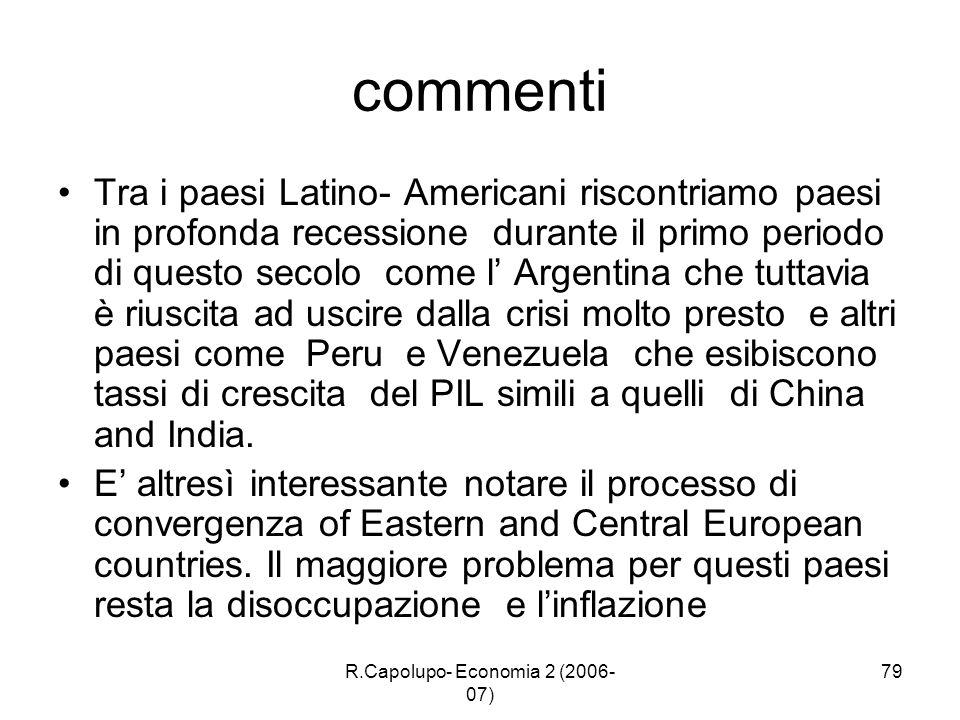 R.Capolupo- Economia 2 (2006- 07) 79 commenti Tra i paesi Latino- Americani riscontriamo paesi in profonda recessione durante il primo periodo di ques