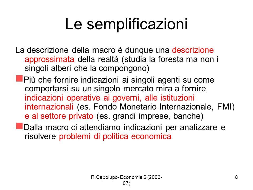 R.Capolupo- Economia 2 (2006- 07) 8 Le semplificazioni La descrizione della macro è dunque una descrizione approssimata della realtà (studia la forest