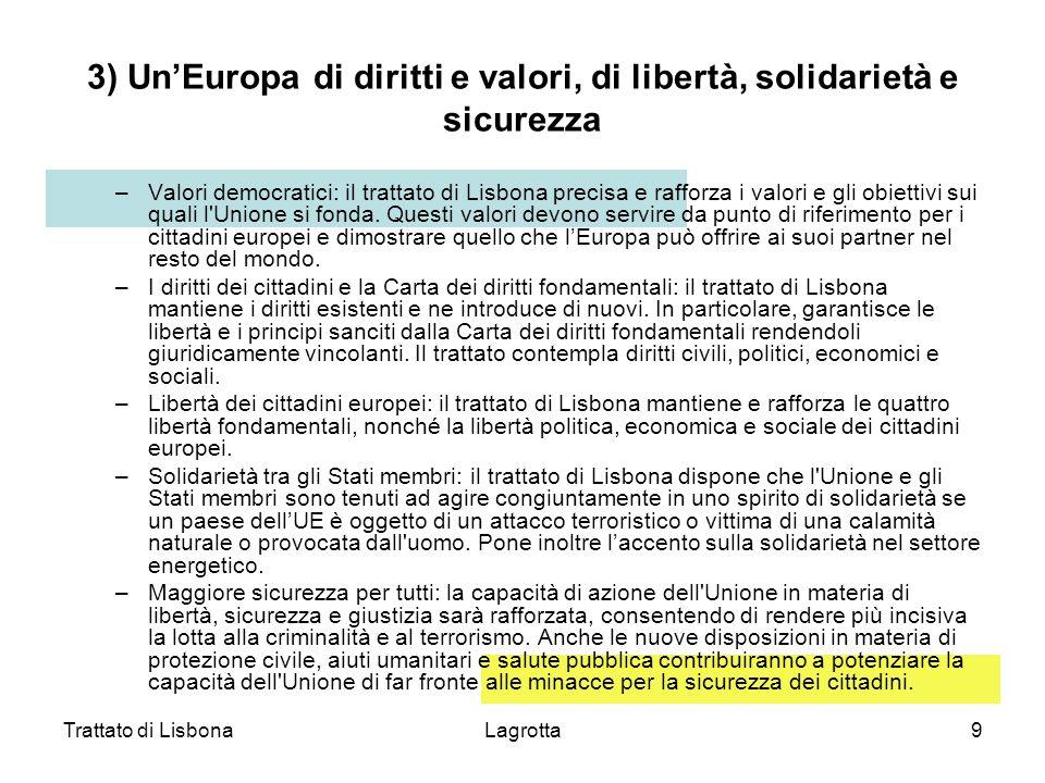 Trattato di LisbonaLagrotta9 3) UnEuropa di diritti e valori, di libertà, solidarietà e sicurezza –Valori democratici: il trattato di Lisbona precisa