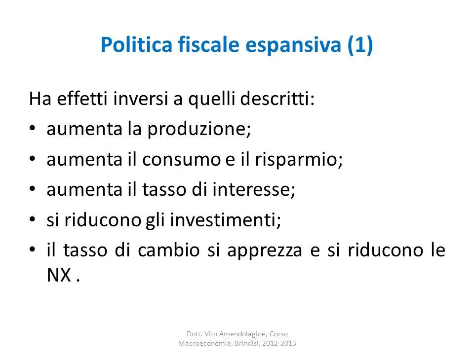 Politica fiscale espansiva (1) Ha effetti inversi a quelli descritti: aumenta la produzione; aumenta il consumo e il risparmio; aumenta il tasso di interesse; si riducono gli investimenti; il tasso di cambio si apprezza e si riducono le NX.