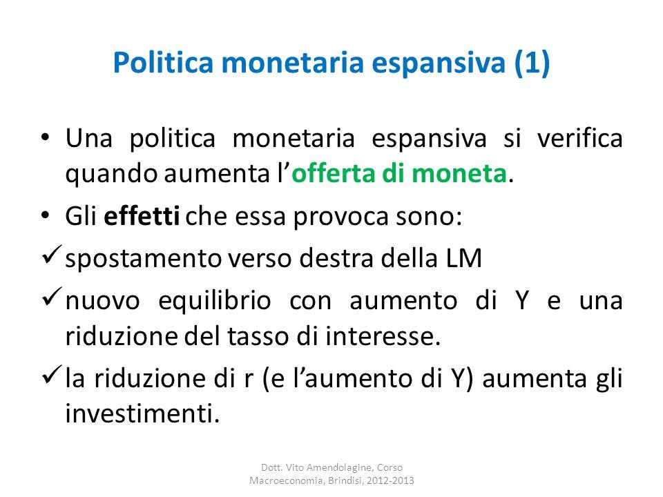 Politica monetaria espansiva (1) Una politica monetaria espansiva si verifica quando aumenta lofferta di moneta.