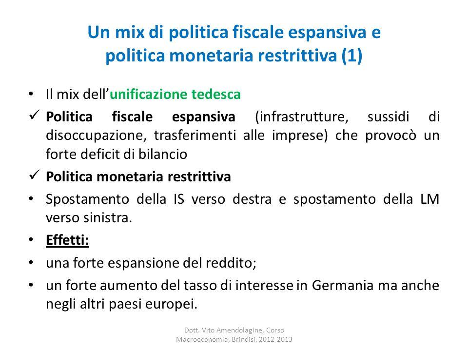 Un mix di politica fiscale espansiva e politica monetaria restrittiva (1) Il mix dellunificazione tedesca Politica fiscale espansiva (infrastrutture, sussidi di disoccupazione, trasferimenti alle imprese) che provocò un forte deficit di bilancio Politica monetaria restrittiva Spostamento della IS verso destra e spostamento della LM verso sinistra.