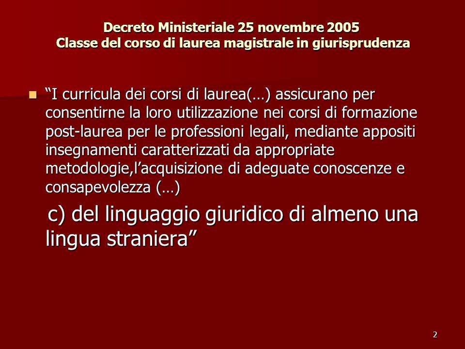 2 Decreto Ministeriale 25 novembre 2005 Classe del corso di laurea magistrale in giurisprudenza I curricula dei corsi di laurea(…) assicurano per cons