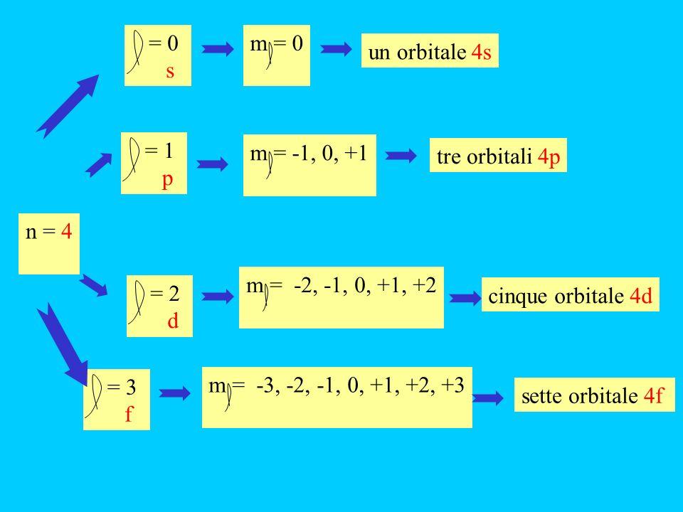 = 0 s m = 0 un orbitale 4s n = 4 = 2 d m = -2, -1, 0, +1, +2 cinque orbitale 4d = 1 p m = -1, 0, +1 tre orbitali 4p = 3 f m = -3, -2, -1, 0, +1, +2, +