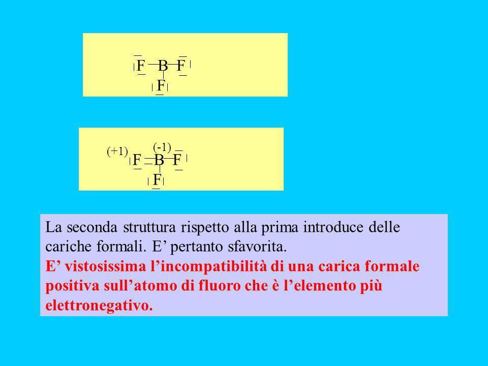 BF 3 F-B-F F il boro insieme alluminio costituiscono delle eccezioni e possono avere meno di 8 elettroni.