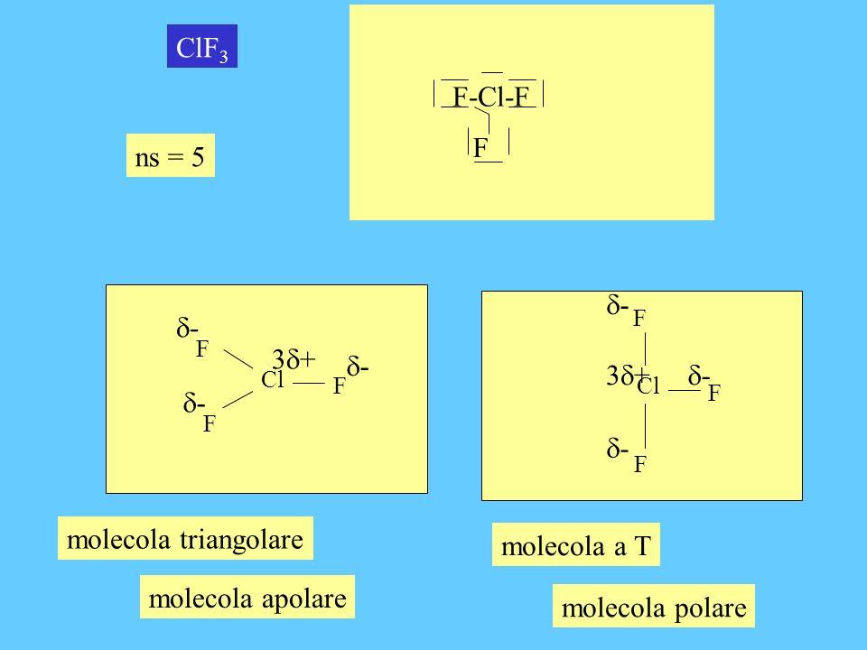 ns = 5 XeF 2 Xe F F molecola lineare F-Xe-F + - - molecola apolare