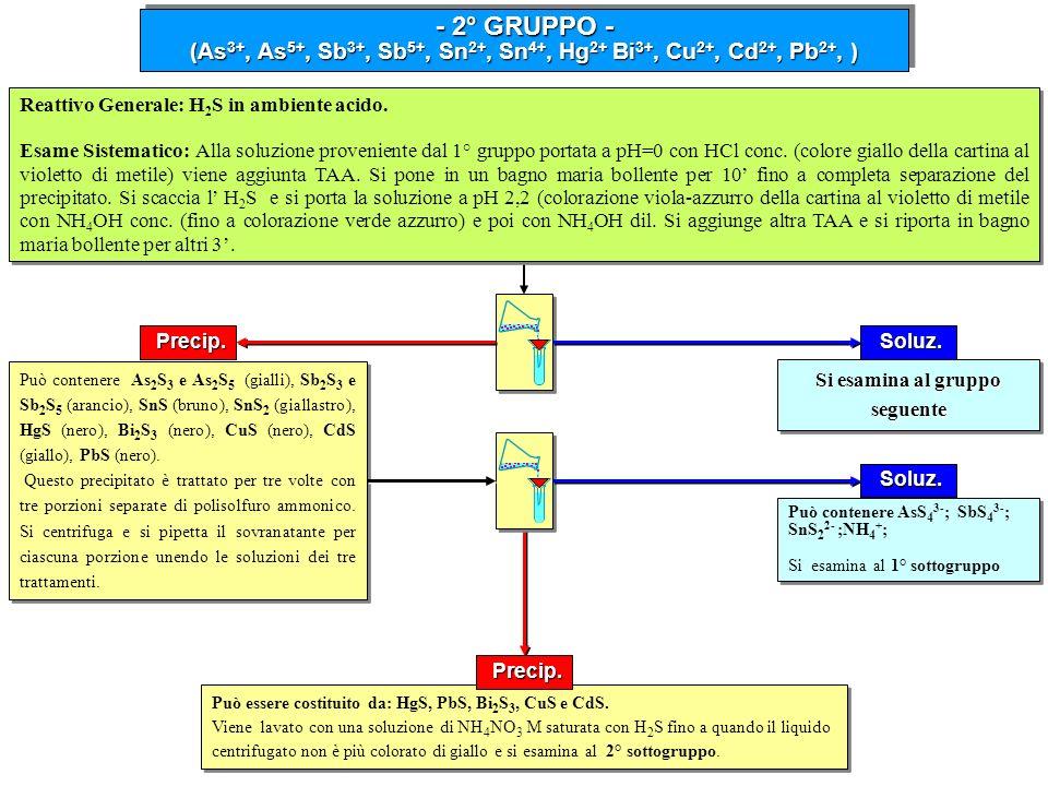 - 2° GRUPPO - (As 3+, As 5+, Sb 3+, Sb 5+, Sn 2+, Sn 4+, Hg 2+ Bi 3+, Cu 2+, Cd 2+, Pb 2+, ) - 2° GRUPPO - (As 3+, As 5+, Sb 3+, Sb 5+, Sn 2+, Sn 4+,