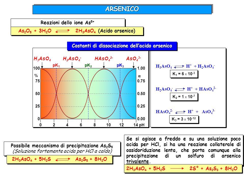 H 3 AsO 4 H + + H 2 AsO 4 - H 2 AsO 4 - H + + HAsO 4 2- HAsO 4 2- H + + AsO 4 3- K 1 = 6 x 10 -3 K 2 = 1 x 10 -7 K 3 = 3 x 10 -12 02468101214 pH 100 7