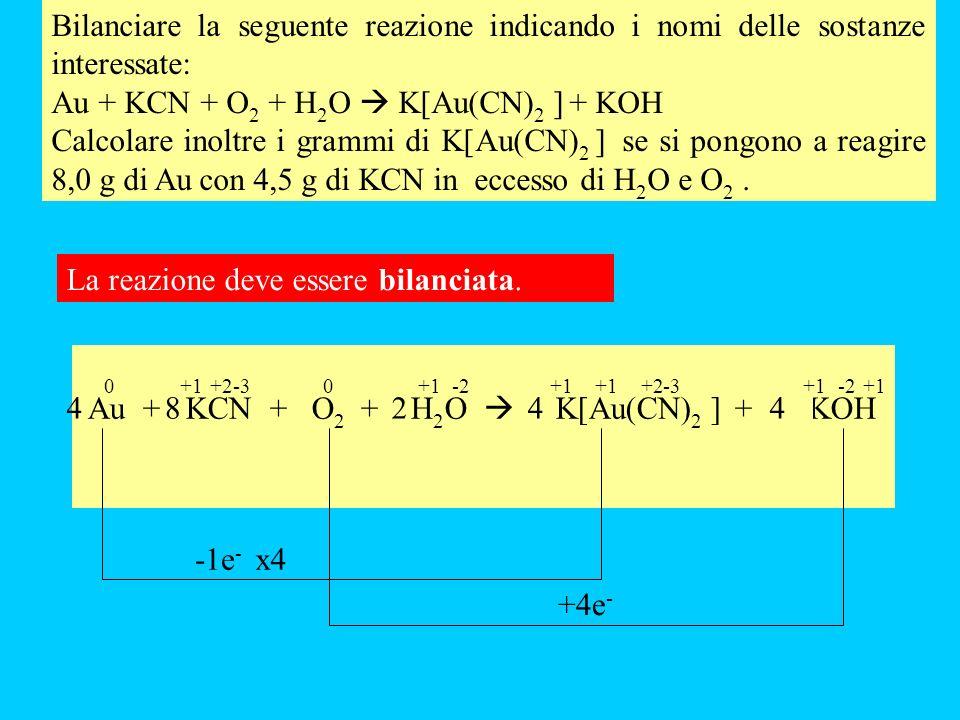 Bilanciare la seguente reazione indicando i nomi delle sostanze interessate: Au + KCN + O 2 + H 2 O K[Au(CN) 2 ] + KOH Calcolare inoltre i grammi di K