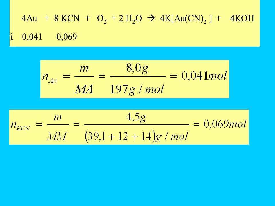 Reagente limitante Le moli di KCN necessarie per fare reagire tutto loro sono 0,082, sono presenti 0,069 moli di KCN (meno di quelle necessarie) quindi il reagente limitante è il cianuro di potassio.
