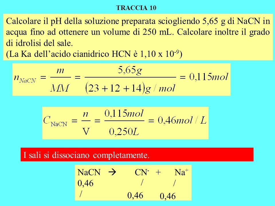 Calcolare il pH della soluzione preparata sciogliendo 5,65 g di NaCN in acqua fino ad ottenere un volume di 250 mL.