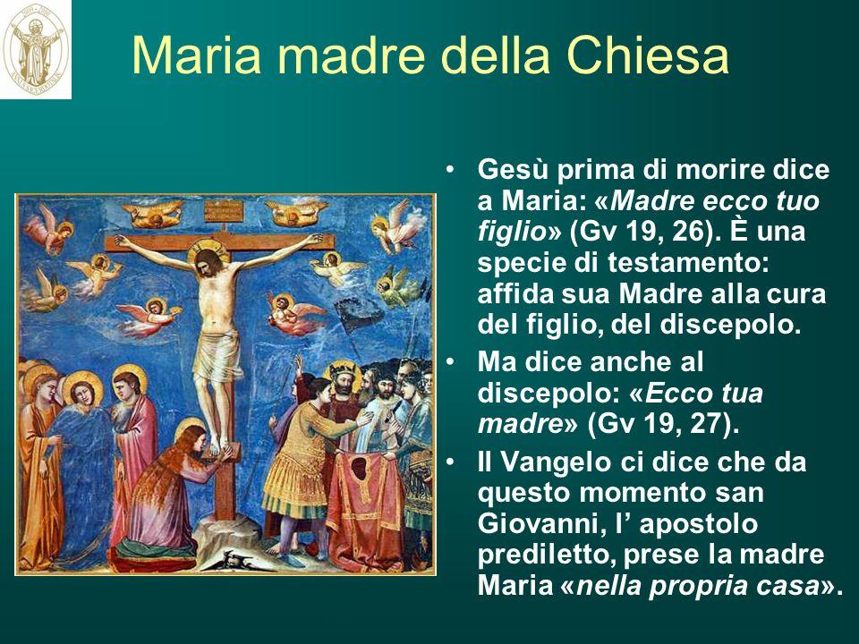 Maria madre della Chiesa Gesù prima di morire dice a Maria: «Madre ecco tuo figlio» (Gv 19, 26). È una specie di testamento: affida sua Madre alla cur