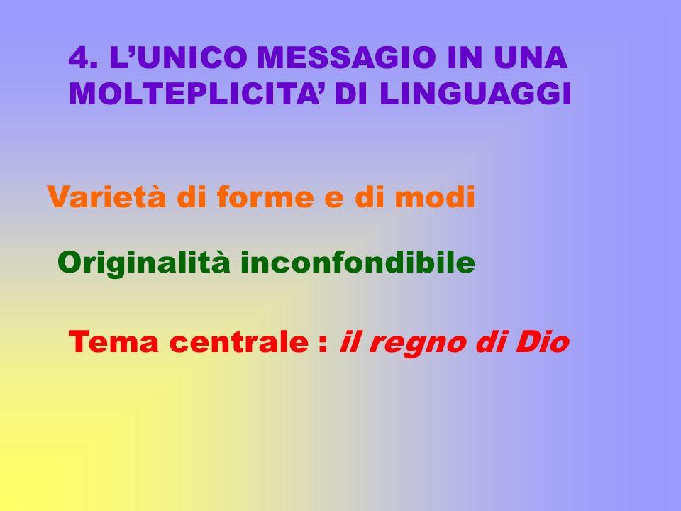 4. LUNICO MESSAGIO IN UNA MOLTEPLICITA DI LINGUAGGI Varietà di forme e di modi Originalità inconfondibile Tema centrale : il regno di Dio