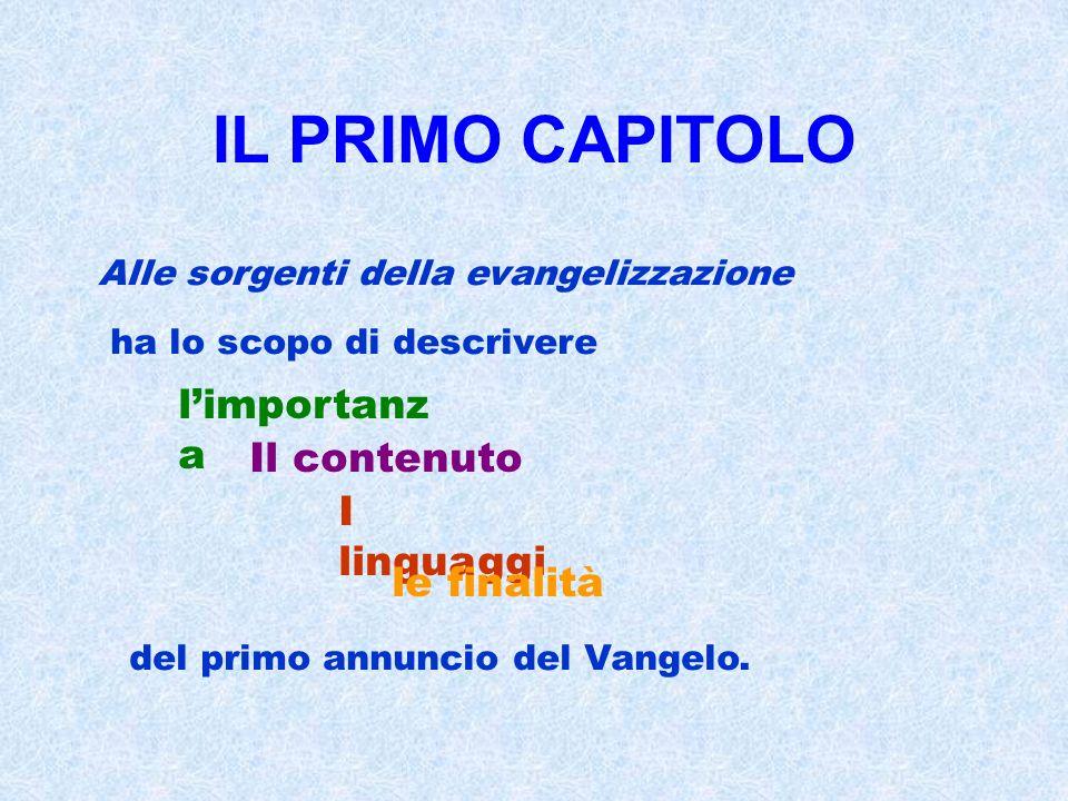 IL PRIMO CAPITOLO Alle sorgenti della evangelizzazione ha lo scopo di descrivere limportanz a Il contenuto I linguaggi le finalità del primo annuncio