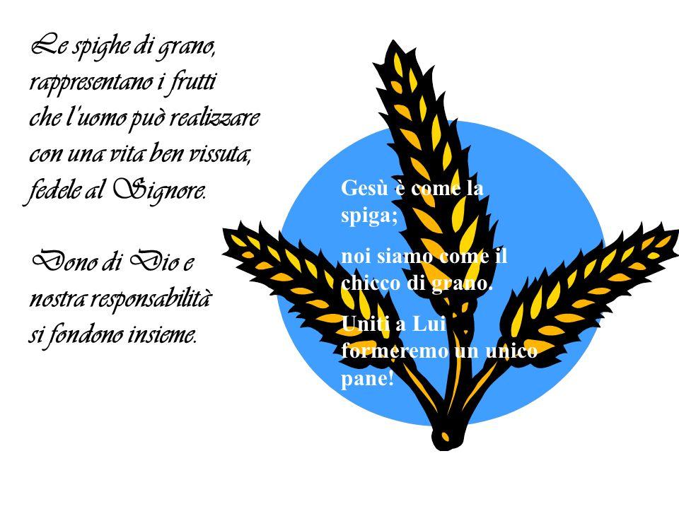Le spighe di grano, rappresentano i frutti che luomo può realizzare con una vita ben vissuta, fedele al Signore.