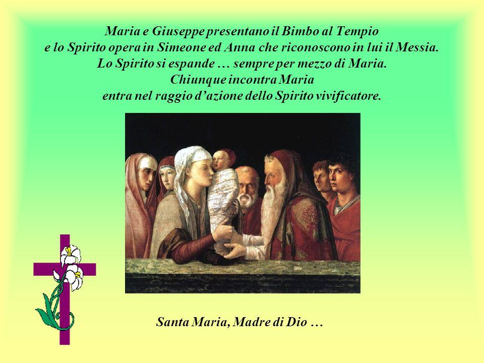 Maria e Giuseppe presentano il Bimbo al Tempio e lo Spirito opera in Simeone ed Anna che riconoscono in lui il Messia.
