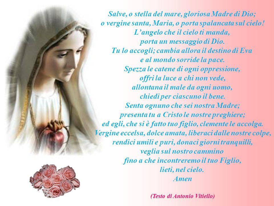 Salve, o stella del mare, gloriosa Madre di Dio; o vergine santa, Maria, o porta spalancata sul cielo! Langelo che il cielo ti manda, porta un messagg
