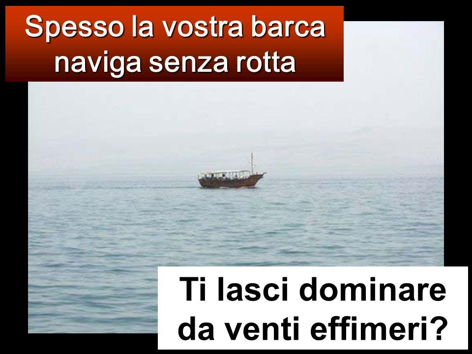 La barca intanto distava gi à molte miglia da terra ed era agitata dalle onde: il vento infatti era contrario.