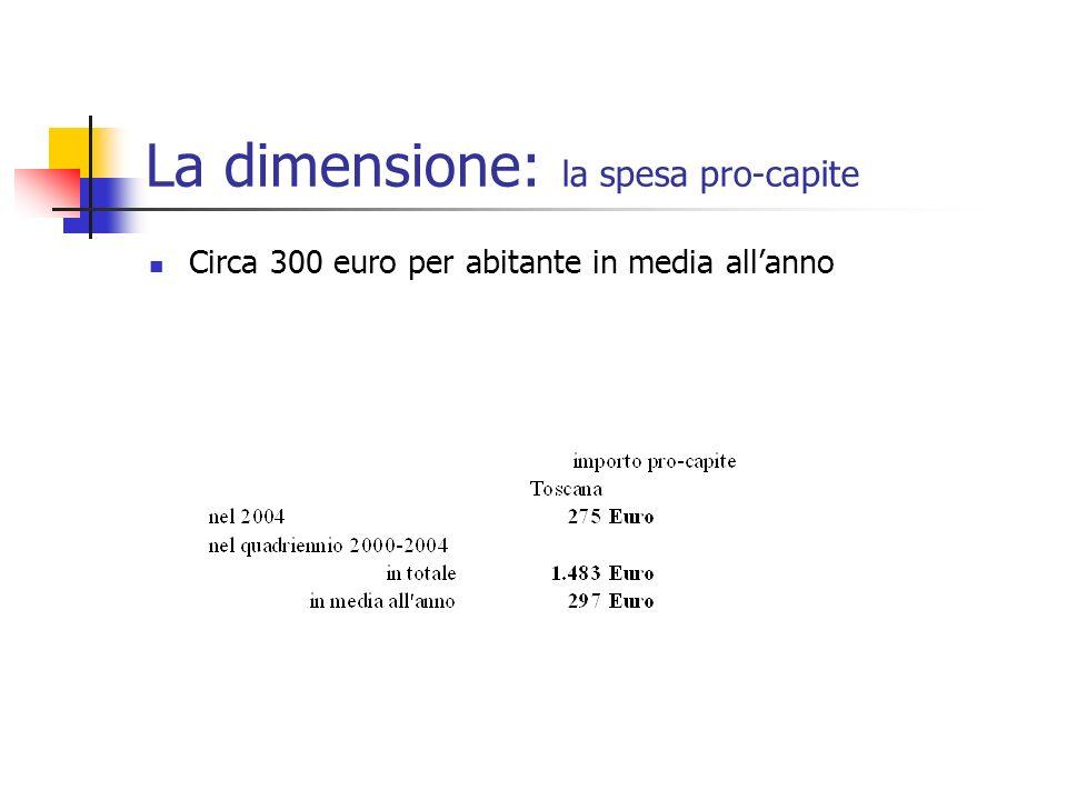 La dimensione: la spesa pro-capite Circa 300 euro per abitante in media allanno