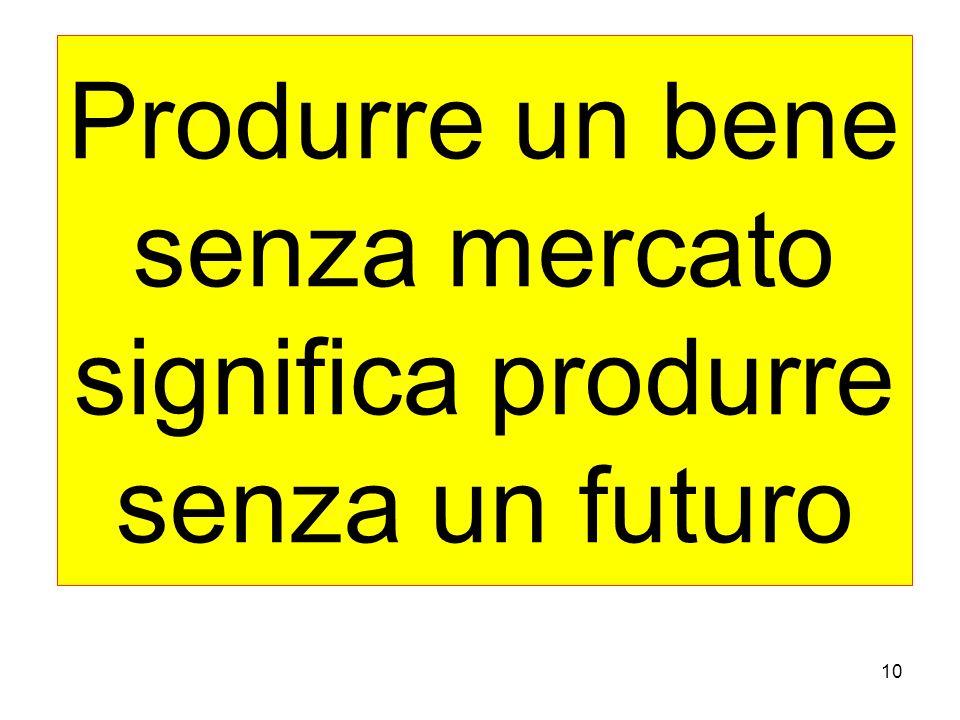 10 Produrre un bene senza mercato significa produrre senza un futuro