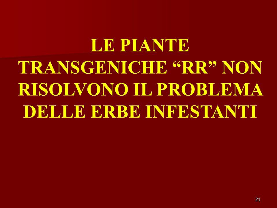 21 LE PIANTE TRANSGENICHE RR NON RISOLVONO IL PROBLEMA DELLE ERBE INFESTANTI