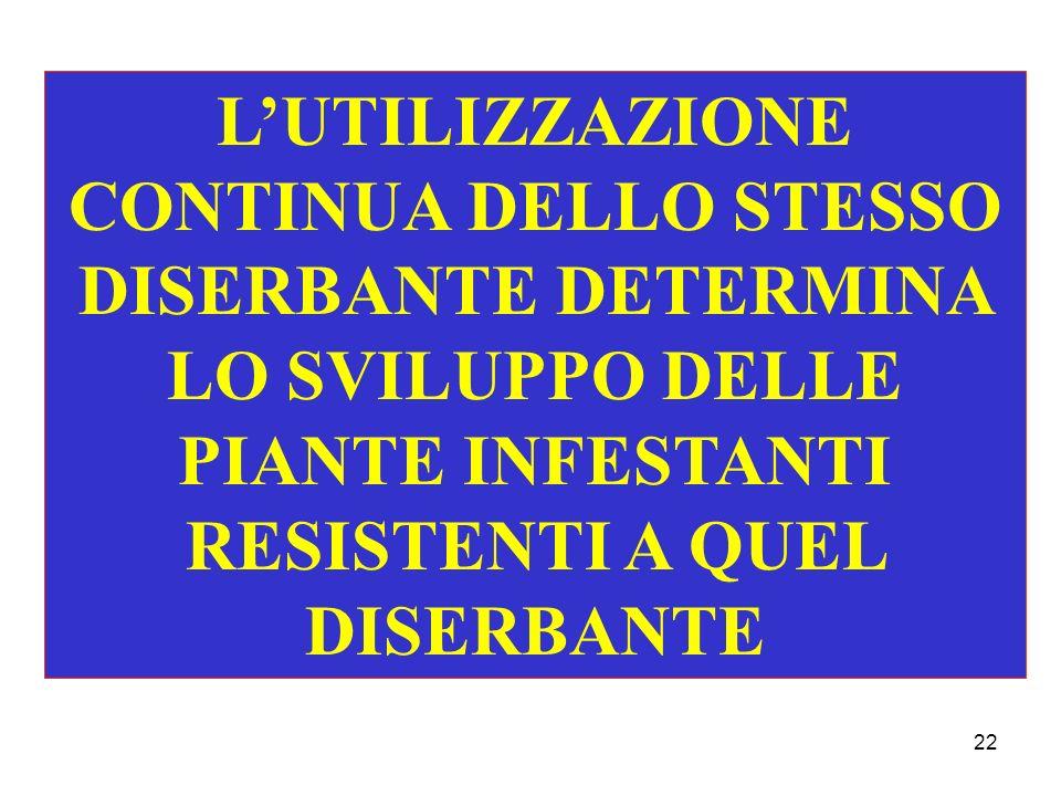 22 LUTILIZZAZIONE CONTINUA DELLO STESSO DISERBANTE DETERMINA LO SVILUPPO DELLE PIANTE INFESTANTI RESISTENTI A QUEL DISERBANTE