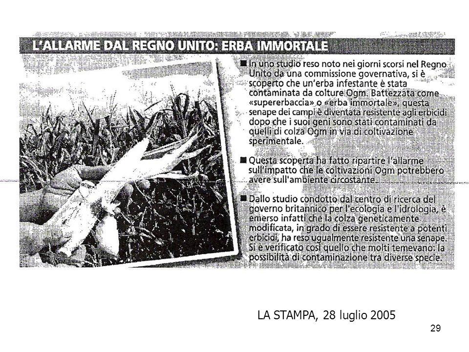 29 LA STAMPA, 28 luglio 2005