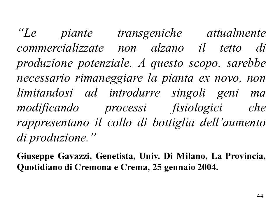 44 Le piante transgeniche attualmente commercializzate non alzano il tetto di produzione potenziale.