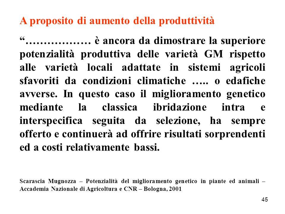 45 A proposito di aumento della produttività ……………… è ancora da dimostrare la superiore potenzialità produttiva delle varietà GM rispetto alle varietà locali adattate in sistemi agricoli sfavoriti da condizioni climatiche …..