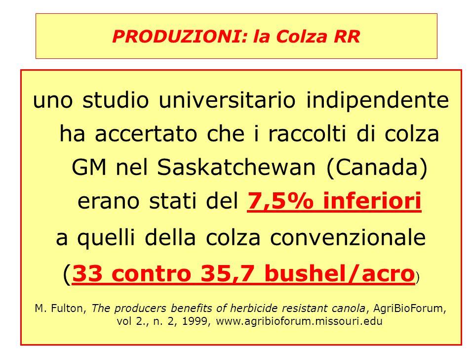 50 PRODUZIONI: la Colza RR 50 uno studio universitario indipendente ha accertato che i raccolti di colza GM nel Saskatchewan (Canada) erano stati del 7,5% inferiori a quelli della colza convenzionale (33 contro 35,7 bushel/acro ) M.