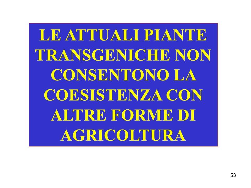 53 LE ATTUALI PIANTE TRANSGENICHE NON CONSENTONO LA COESISTENZA CON ALTRE FORME DI AGRICOLTURA