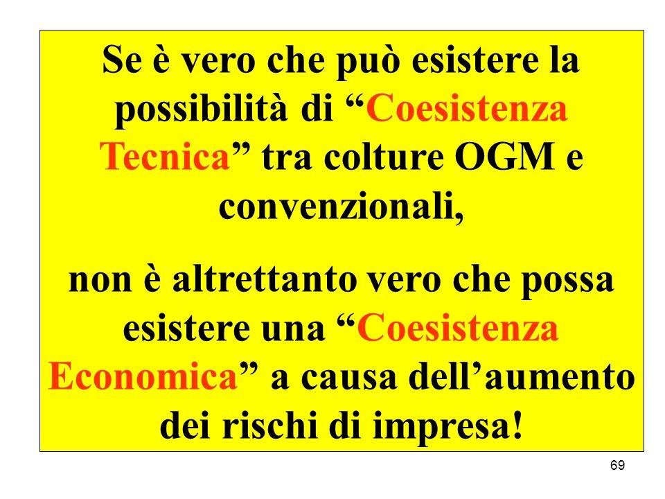 69 Se è vero che può esistere la possibilità di Coesistenza Tecnica tra colture OGM e convenzionali, non è altrettanto vero che possa esistere una Coesistenza Economica a causa dellaumento dei rischi di impresa!