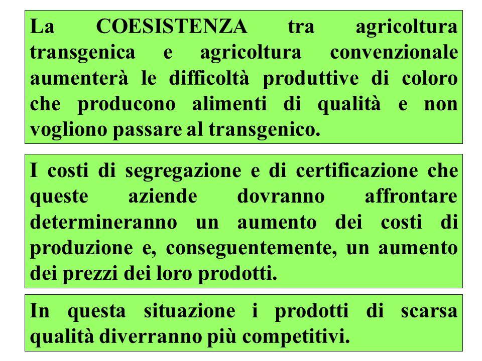 70 La COESISTENZA tra agricoltura transgenica e agricoltura convenzionale aumenterà le difficoltà produttive di coloro che producono alimenti di qualità e non vogliono passare al transgenico.