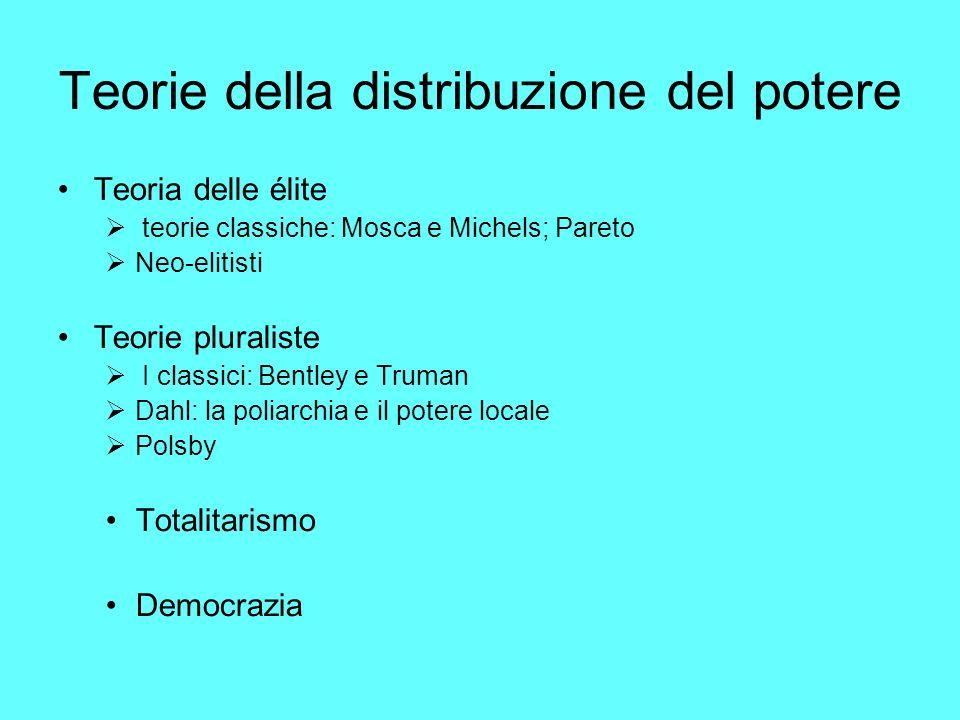 Teorie della distribuzione del potere Teoria delle élite teorie classiche: Mosca e Michels; Pareto Neo-elitisti Teorie pluraliste I classici: Bentley e Truman Dahl: la poliarchia e il potere locale Polsby Totalitarismo Democrazia