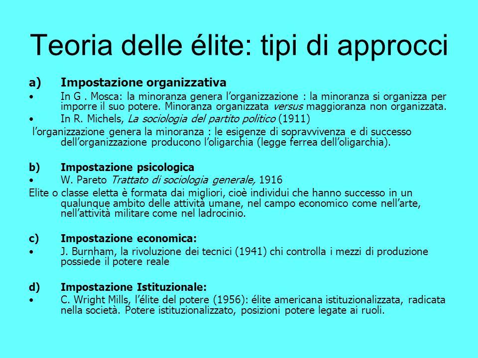 Teoria delle élite: tipi di approcci a)Impostazione organizzativa In G.