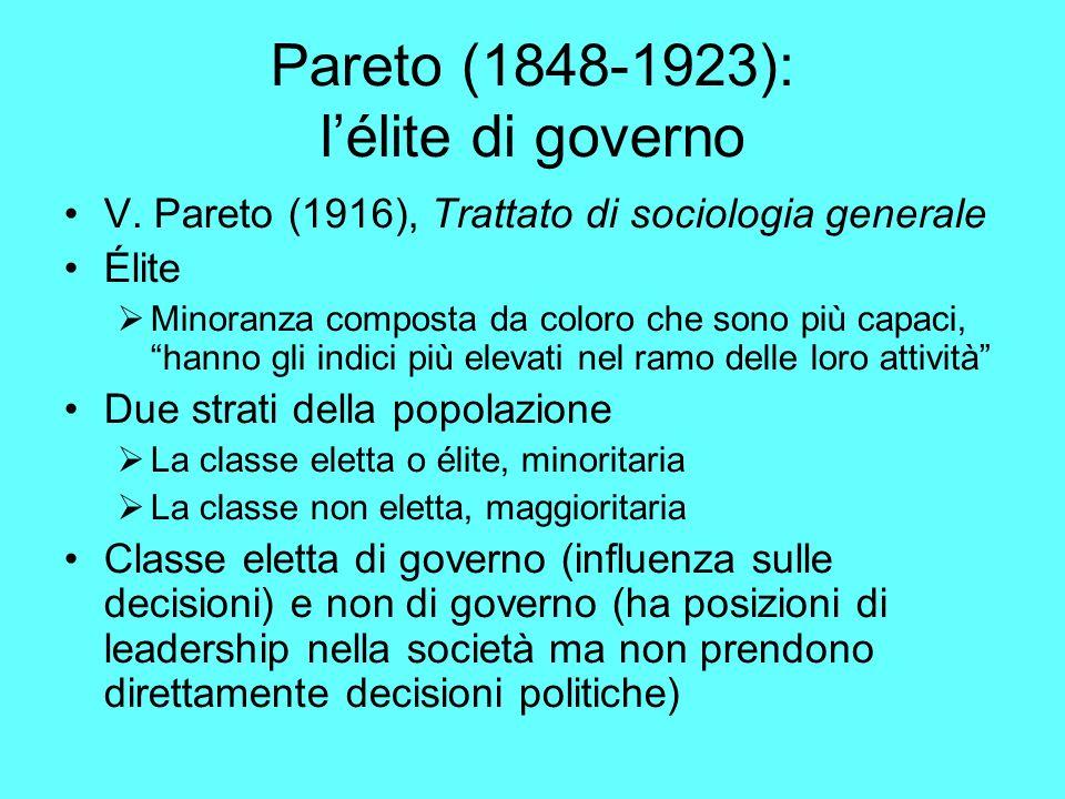 Pareto (1848-1923): lélite di governo V.