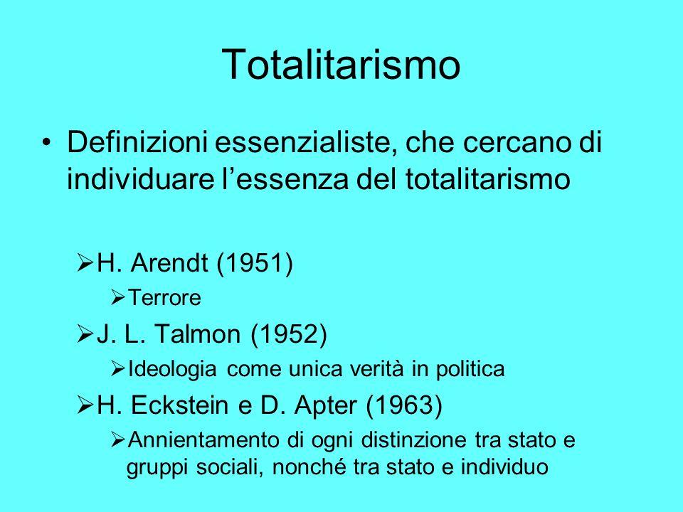 Totalitarismo Definizioni essenzialiste, che cercano di individuare lessenza del totalitarismo H.
