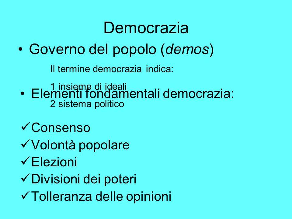 Democrazia Governo del popolo (demos) Elementi fondamentali democrazia: Consenso Volontà popolare Elezioni Divisioni dei poteri Tolleranza delle opinioni Il termine democrazia indica: 1 insieme di ideali 2 sistema politico