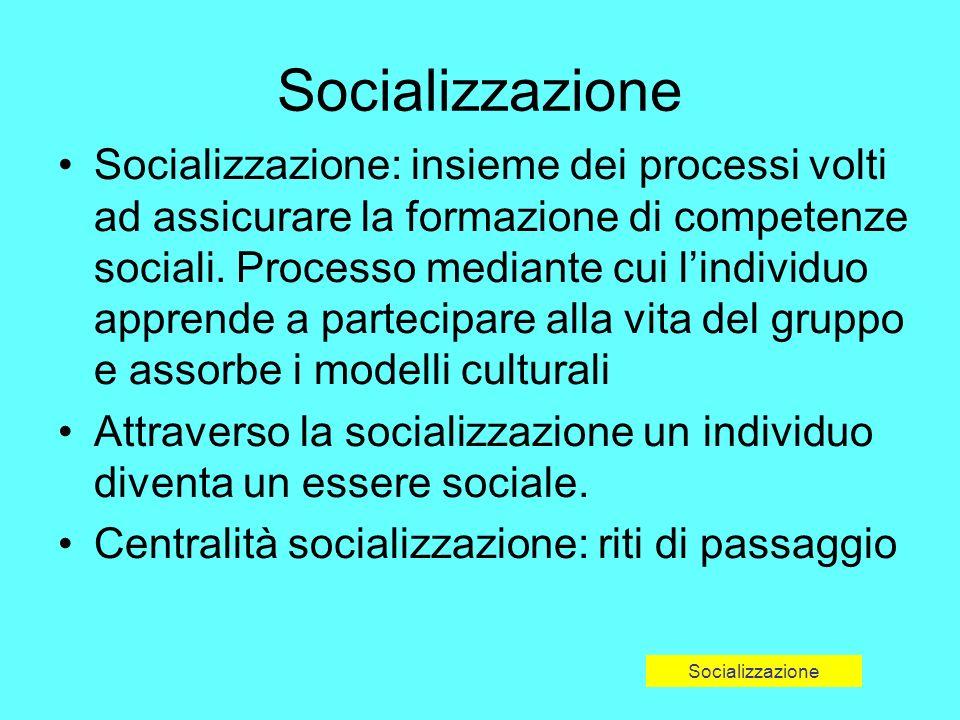 Socializzazione Socializzazione: insieme dei processi volti ad assicurare la formazione di competenze sociali.