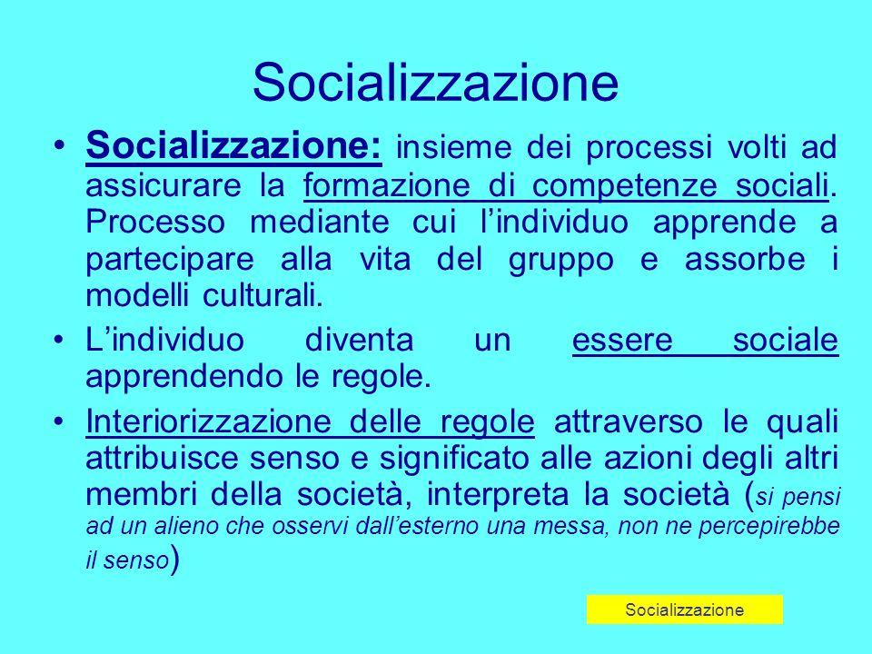 Socializzazione: insieme dei processi volti ad assicurare la formazione di competenze sociali.