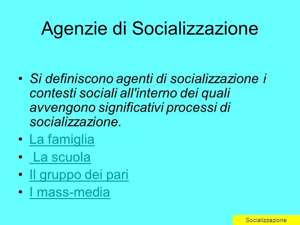 Agenzie di Socializzazione Si definiscono agenti di socializzazione i contesti sociali all interno dei quali avvengono significativi processi di socializzazione.